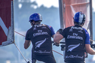 Peter Burling and Blair Tuke in action during the Louis Vuitton America's Cup World Series. Photo / Hamish Hooper