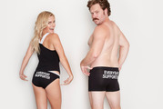 "Matilda Rice and Will Hall embracing their ""everyday supporter"" undies. Photo / Supplied"