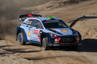 Hayden Paddon and Seb Marshall in action during the shakedown of the WRC Portugal. Photo / Getty Images