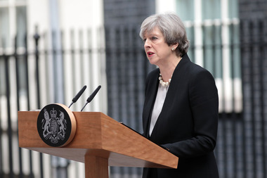 Britain's Prime Minister Theresa May speaks to the media after chairing a meeting of the Government's emergency COBRA committee at Downing Street. Photo / Getty Images