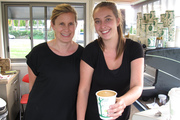 """Faith Martin and Jordyn Howearth of the Way Cup coffee kiosk in Kerikeri, where a """"mystery man"""" has been spreading kindness and free coffee. Photo / Peter de Graaf"""