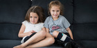 Twins Zoey and Maya Gourlay at home a week after their seventh birthday. Maya underwent lifesaving heart surgery at nine days old.  Photo / Greg Bowker