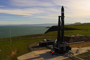 Rocket Lab's Electron rocket at the launch site on the Mahia Peninsula.