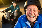 John Bond (right) with his wife Maisey on the luge at Skyline Rotorua. Photo/Stephen Parker