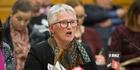 Corinda Taylor, of the Life Matters Suicide Prevention Trust, speaking at Parliament today. Photograph by Mark Mitchell.