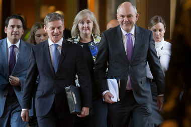 Finance Minister Steven Joyce, escorted by Prime Minister Bill English, Economic Development Minister Simon Bridges and Social Housing Minister Amy Adams, on his way to read his Budget 2017 in Parlia