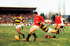 TIGHT TUSSLE: A Bay of Plenty player tackles Lions halfback Bobby Windsor in Rotorua in 1977. PHOTO: getty images