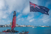 The New Zealand flag flies above the America's Cup base in Bermuda. Photo / Supplied