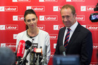 Labour Party deputy leader Jacinda Ardern and leader Andrew Little.  Photo /  Mark Mitchell