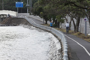 Minor flooding along Tamaki Drive, caused by the king tide in April 2016. Photo / Brett Phibbs