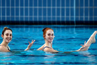 Synchronised swimming. Tauranga's Jazzlee Thomas, 18 left and Eva Morris, 19 won bronze medals at the Canadian Synchronised Swimming Open. Photo/George Novak