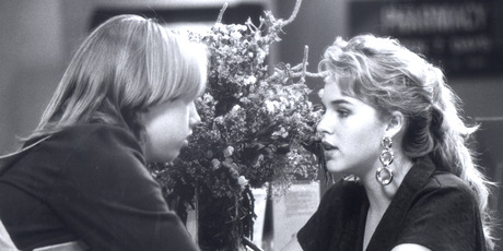 Angela Dotchin as receptionist Kirsty Knight on the set of Shortland Street in 1992.