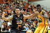 Hawks swingman Joshua Fox shows his frustration against Taranaki import centre Daniel Gomis but tonight US import centre Amir Williams should have Gomis' in check. PHOTO/FILE