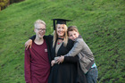 Chrissy Chambers at her graduation with her sons Pace (13) and Coby (11). Photo/ Marcia O'Connor