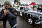 Heather Worth, from Sydney, rugged up warm to compete in the Targa rally in Havelock North at the weekend, in her 1968 Volvo 122S. Photo / Warren Buckland