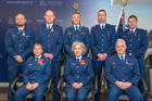 Honours recipients were (back, from left) Constable Ben Turner NZBD, Senior Constable Blair Spalding NZBD, Commissioner Mike Bush MNZM, Sergeant Ryan Lilleby NZBM, Sergeant Chris McDowell NZBM and (front, from left) Sergeant Su Robinson MNZM, Senior Constable Sue Guy MNZM and Senior Constable (rtd) Deane O'Connor NZDM.