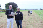 Greenstone Land directors John O'Sullivan (left) and Tim Wilkins at the newly-released land in Frimley. Photo/Supplied