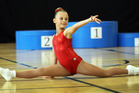 Danielle Lowe poses during her routine at the Northland Aerobics Championships. Photo/Tania Whyte
