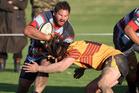Rotoiti's Abe Tito clashes with Te Puke flanker Connor Woodman in last Saturday's loss to Te Puke Sports.