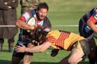 CRUNCH: Rotoiti's Abe Tito clashes with Te Puke flanker Connor Woodman in last Saturday's loss to Te Puke Sports. rdpsport200517sw01.JPG