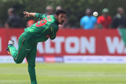 Bangladesh's Nasir Hossain bowls during the Tri-Nations series match against New Zealand. Photo / AP