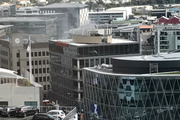 Smoke seen coming out of a building in downtown Auckland. Photo / Supplied via Reid Quinlan
