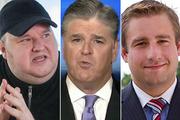 Kim Dotcom, left, Fox News pundit Sean Hannity, centre, and Seth Rich.