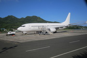 The Virgin Australia plane which had to turn back early this morning as it is now - grounded in Rarotonga. Photo / Supplied