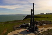 A photo taken at Mahia this morning show's Portland Island at right, with the rocket site launch site of Mahia Penninsula on left. Photo/Warren Buckland
