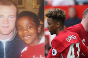 Wayne Rooney and Angel Gomes in 2008, left, and in Monday's Premier League clash against Crystal Palace. Photos - Instagram/Getty Images