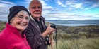 Peter Holmes and Lyn Kersel of Tauranga try for a glimpse of the first ever NZ rocket launch near Mahia. Photo Warren Buckland