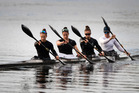 The New Zealand K4 Women's crew of Lisa Carrington, Kayla Imrie, Caitlin Ryan and Aimee Fisher.