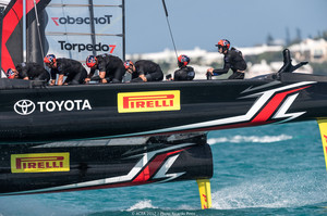 Emirates Team New Zealand in action during day one of the America's Cup qualifiers. Photo / Ricardo Pinto