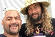 Kiwi fighter Mark Hunt and Game of Thrones star Jason Momoa. Photo / Facebook