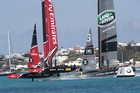 Emirates Team NZ race Land Rover BAR off Bermuda. Photo/America's Cup