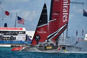 Emirates Team NZ cross the finish line against Land Rover BAR off Bermuda. Photo/America's Cup