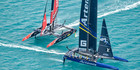 Emirates Team NZ and Artemis Team Sweden do battle off Bermuda. Photo/America's Cup