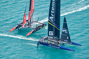 Emirates Team NZ and Artemis Team Sweden do battle off Bermuda. Photo/America's Cup