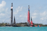 Emirates Team New Zealand battle it out against SoftBank Team Japan on Bermuda's Great Sound.