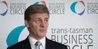 Prime Minister Bill English talks with media after speaking at the Trans-Tasman Business Circle lunch on Friday. Photo / Greg Bowker