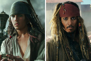 Johnny Depp as Jack Sparrow, digitally-rendered at 26 (left) and in character at 53 (right). Photo / AP