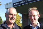 Retiring Alliance Group Pukeuri foreman butcher Chris McLeod (left) and plant manager Ivan Docherty. Photo / Sally Rae.