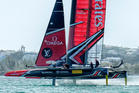 Emirates Team New Zealand practice before racing on day one of the challenger series for the America's Cup. Photo/Photosport