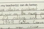Glasgow schoolgirl Ava Cross, 11, provided some hilarious feedback for her teacher. Photo / Twitter