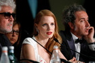 Jessica Chastain speaking at the Palme D'Or winner press conference during the 70th annual Cannes Film Festival. Photo / Getty