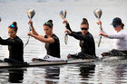 The New Zealand K4 Women's crew of Lisa Carrington, Kayla Imrie, Caitlin Ryan and Aimee Fisher won the K4 500m title for the second week in a row in the ICF World Cup in Hungary. PHOTO/FILE 050517NZHBPK4WOMENSNZ24.JPG