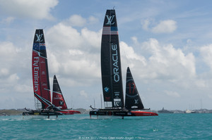 Team New Zealand and Oracle racing on the opening day of the America's Cup. Photo / ACEA 2017