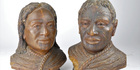 A rare pair of kauri gum busts depicting two remarkable Maori characters from early New Zealand history have surfaced at auction. Photo / Supplied