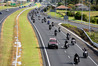 Hundreds of motorbike riders travel down State Highway 2 on the way to Edgecumbe to help flood victims as part of the charity ride. Photo/George Novak