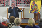 Charles Sturt auctions off artwork at the St Faith's Church fundraiser. Pictured is the artwork Pukeko by Martyn Evans. Photo/Stephen Parker